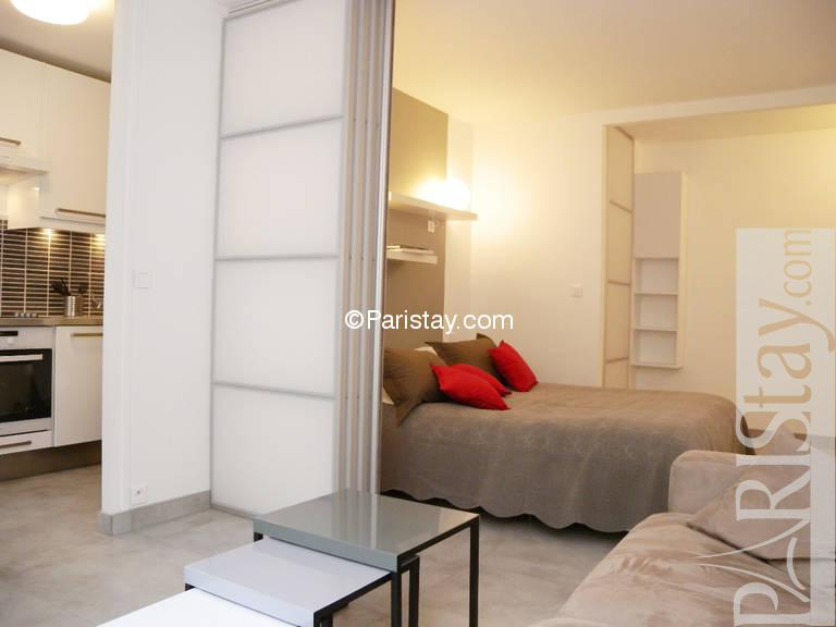 Broca Cosy 1 bedroom  Living room. 1 bedroom apartment vacation term renting Quartier Latin 75005 Paris