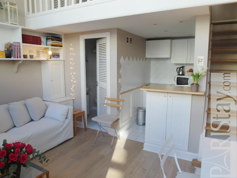 paris location meubl e type t1 studio luxembourg artiste mezzanine. Black Bedroom Furniture Sets. Home Design Ideas