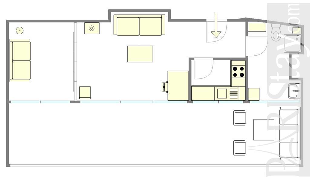 Rent a flat in paris 1 bedroom terrace arc de triomphe 75016 paris - Terras appartement lay outs ...