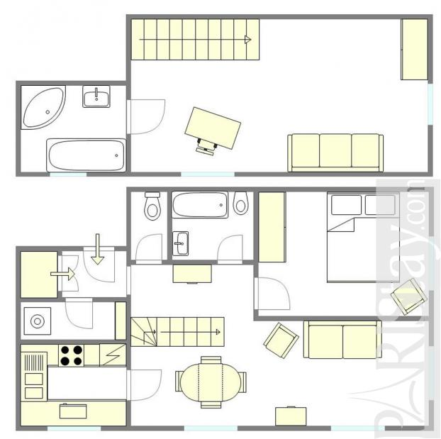 Paris location meubl e appartement type t3 petit pont duplex for Duplex appartement paris