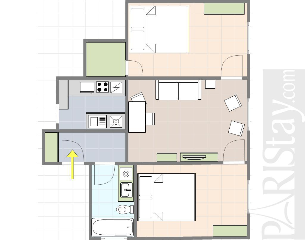 paris location meubl e appartement type t3 marais smart 2 bedrooms. Black Bedroom Furniture Sets. Home Design Ideas